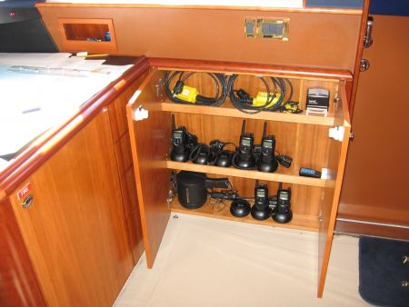 electronics storage on a yacht captains quarters