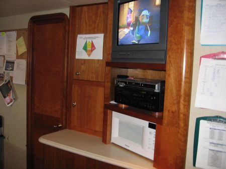 Yacht Carpentry in Fort Lauderdale - finding Nemo on a yacht, kitchen navigation center entertainment set small television