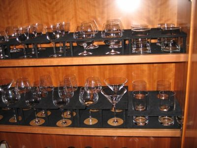 champagne martini wine and scotch glass storage liquor rack by Dennis Boatworks a custom carpenter in Ft. Lauderdale Florida