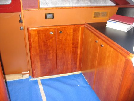 storage cabinets for extra storage on a yacht sailing boating vessel installed by the master craftsmen at Dennis Boatworks