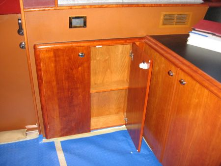 Yacht Carpenter for Marine Vessels Wooden drawers open