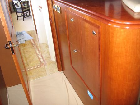 cherry oak cabinets on a yacht