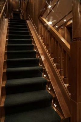 staircase world class yacht custom grain wood by Dennis Boatworks