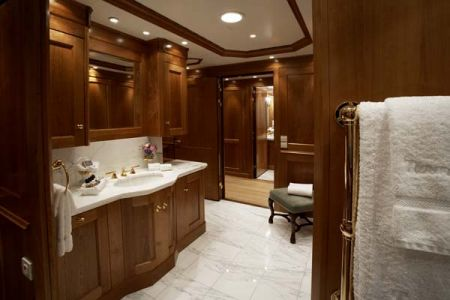 master bathroom elegant design with laquered woodworking installed by Dennis Boatworks