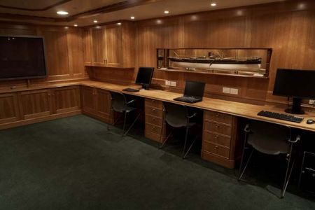 office play room on a yacht installed by Ft. Lauderdale carpenter Dennis Boatworks