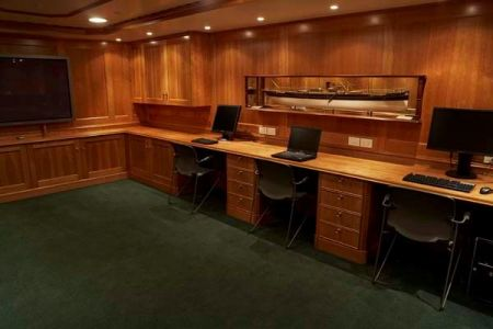 Mobile office on a yacht woodwork by Dennis Boatworks based in South Florida