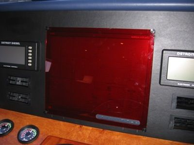 Image of acrylic screen covers on the dashboard made by Dennis Boatworks.