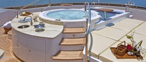 Jacuzzi pool area complete with sink on a superyacht