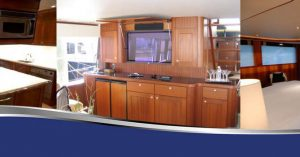 A banner of three images of different cabinet carpentry options: a dark wood in the kitchen, a light brown for an entertainment center, and a red wood for another entertainment center from Dennis Boatworks. (kitchen, outdoor entertainment center, bedroom and nightstand bookshelf areas rooms furniture design custom made in Fort Lauderdale)