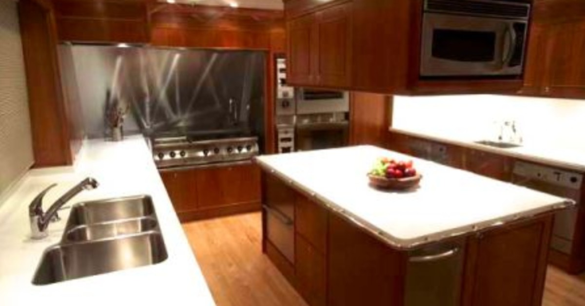 kitchen countertop marble sink oven fruit bowl yacht cherry oak