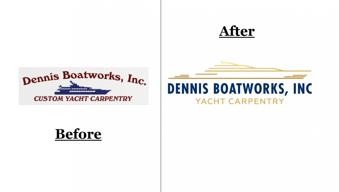 Before and After of the Dennis Boatworks logo