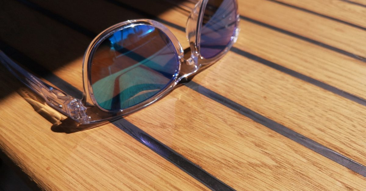 teak deck glasses out in the sun